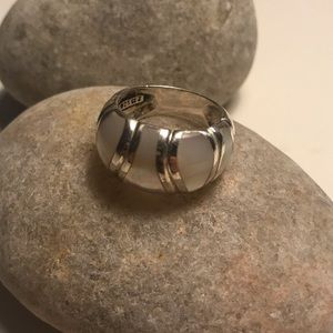 Silver Ring with White Opal Size 8